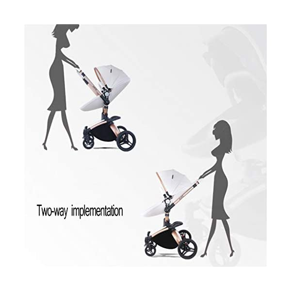 Stroller, Two-Way SUV-Class Stroller, High-Profile Light Folding Baby Four-Wheeled Cart YSSY - Triangular frame, greatly improving the load-bearing and shock-absorbing performance of the body. - High-end environmentally-friendly PU leather, waterproof and anti-fouling, a clean wipe. - SUV-level suspension design, easy to apply to a variety of road surfaces. 4