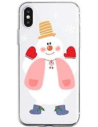 Oihxse Case Compatible con Samsung Galaxy A6 Plus 2018 Funda Transparente Silicona Suave Carcasa Protectora Navidad Santa Deer Diseño de patrón Creativo Ultra Slim Flexible Cover