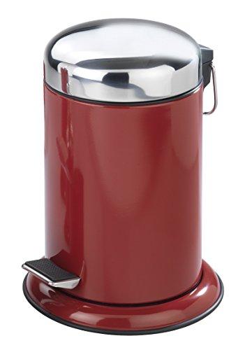 WENKO 17901100 retoro Abfallbehälter mit Pedal, Inhalt 3 L, Edelstahl, 22 x 30,5 x 22 cm, Bordeaux