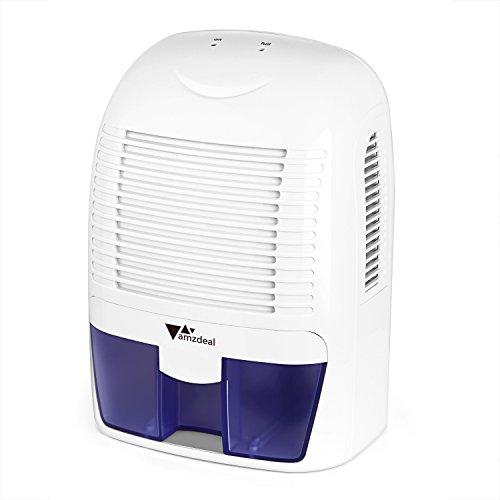 Amzdeal Deumidificatore per Casa con Serbatoio dell'acqua da 1500 ml per Eliminare L'umidità, Mini Deumidificatore dell'aria per Cucina, Camera da letto, Bagno, Armadio - Bianco