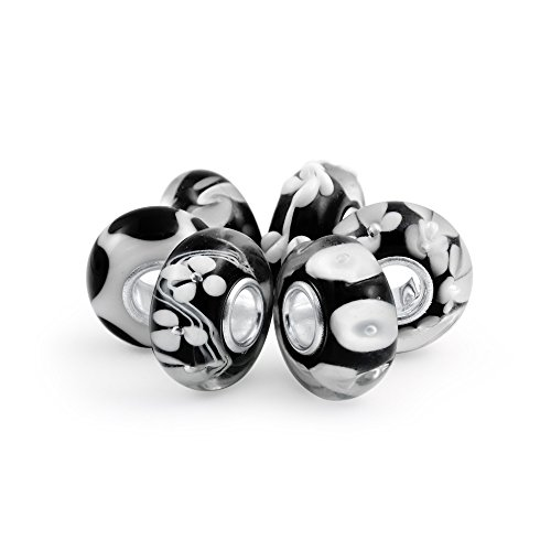 Bling jewelry nero con motivi floreali in vetro di murano mix di 6 925s core cordone distanziatore fascino europeo bracciale