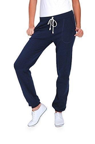 futuro fashion Damen Sport volle Länge Fleece Jogginghose mit Taschen mit Manschetten gym-hosen Joggen DK - Marine, 48 (Kabel Baumwolle Damen)