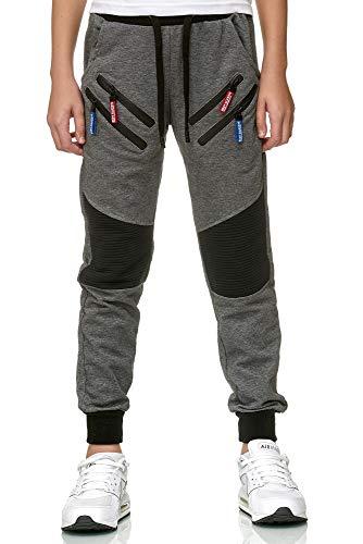 XRebel Kinder Junge Jogging Hose Jogger Streetwear Sporthose Modell W09 (Gr. 16 (164-170), Dunkelgrau)