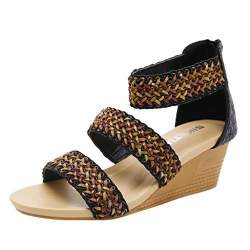 JiaMeng Damenmode Sommer Casual Roma Zip High Heels Wedges Sandalen Arbeitsschuhe