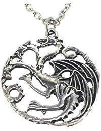 Game of Thrones Targaryen Daenerys Family Sigil Three Headed Dragon Necklace