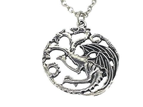 Halskette mit Anhänger in Form des Wappens von Daenerys Targaryen aus Game of Thrones (3-köpfiger Drache)