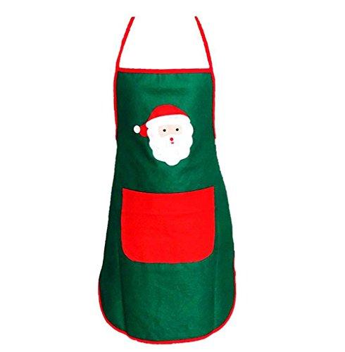 Kostüm Frau Barkeeper - VI. Yo Kochschürze Weihnachten Santa Claus Kostüm Stil Schürze Familie Abendessen Kochen Backen Home Kitchen Weihnachts Dekoration, grün, 70*50cm
