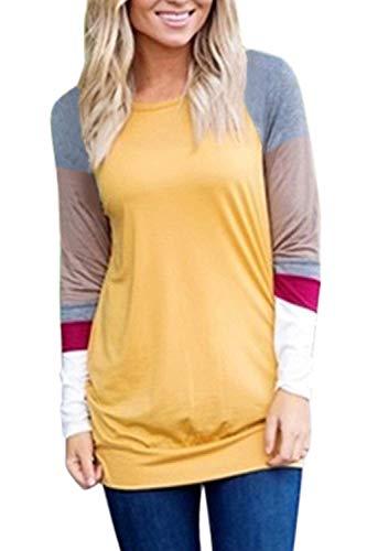 Oberteile Frauen Im Herbst Pullover Farbe Block Sweatshirt Perfect Blusen Langarm Rundhals Streifen Shirt T Shirts Style (Color : Gelb, Size : XL)