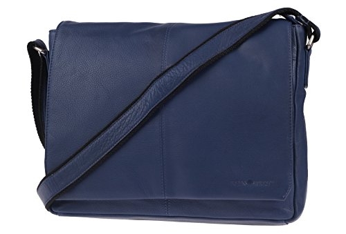 Greenburry Pure A4 Messenger Bag Tasche Leder 34 cm Laptopfach blue