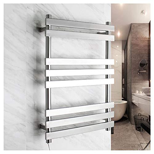 YHNUJMIK Flat Panel Handtuchwärmer, Kühlkörper Wäscheständer Aus Edelstahl Wasserdicht Anti-Elektrische Leckage Automatische Konstante Temperatur 3 Schichten Badezimmer (Silber) -