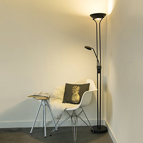 QAZQA Modern LED-Stehleuchte/Stehlampe/Standleuchte/Lampe/Leuchte schwarz - Diva 2 Dimmer/Dimmbar/Innenbeleuchtung/Wohnzimmerlampe/Schlafzimmer/Deckenfluter Metall Rund/Länglich / (
