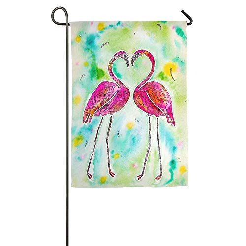Love Birds Garden Flag (WEERQ Fashion Custom Garden Flag Pink Flamingo Love Birds Garden Flag 12