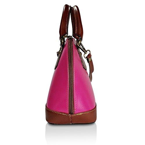 Glamexx24 Borsa vera Palle da Donna a mano , Casual Borsetta a tracolla, elegante Clutch Made in Italy 1.001 1.001.3 Pink