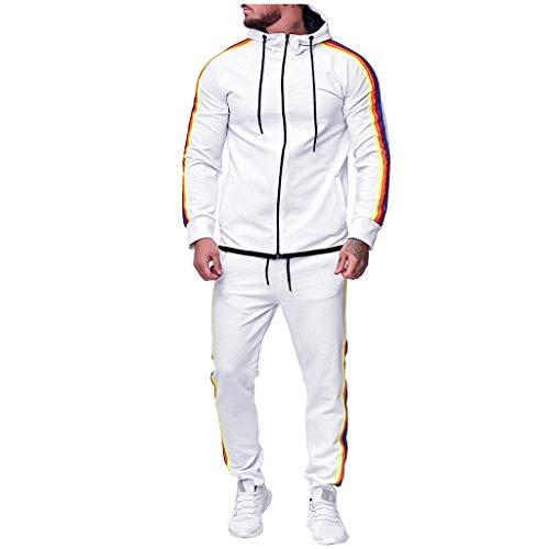 Setsail Herren Herbst Fashion Gradient Zipper Print Sweatshirt Top Hosen Sets Lockerer Komfort Sport Anzug Freizeit Trainingsanzug Geeignet für Indoor- und Outdoor-Aktivitäten -