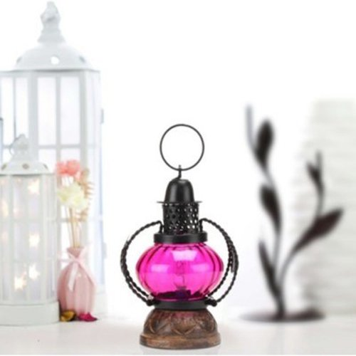 khan handicrafts pink Wooden & Iron hand carved Colored Electric Lantern design  available at amazon for Rs.349