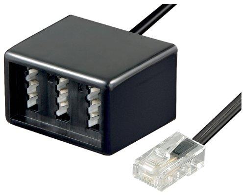 Wentronic Telefon Adapter (RJ45 Stecker auf TAE Buchsen NFN) schwarz (Ethernet-buchse Telefon-und)