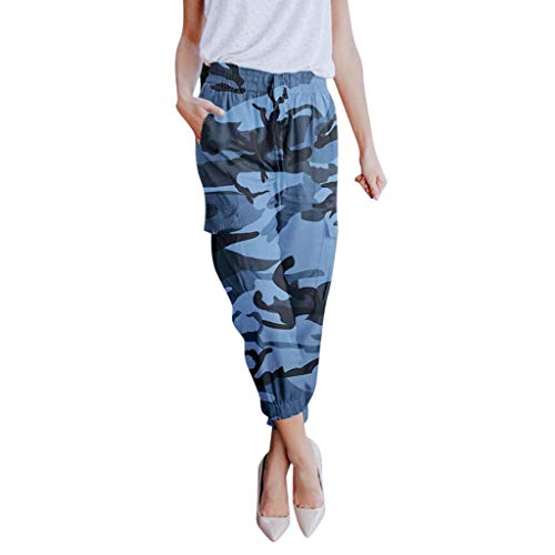 WOZOW Cargo Hosen Damen Camo Tie Riemchen High Waist Loose Lose Long Lang Casual Pockets Straight Leg Tapered Military Freizeithose Stoffhose Trousers (Old School Elefant Kostüm)