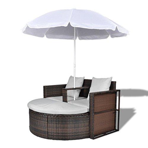 Anself Set lounge da giardino in polirattan con parasole da esterno marrone