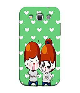 FUSON Designer Back Case Cover for Samsung Galaxy Win I8550 :: Samsung Galaxy Grand Quattro :: Samsung Galaxy Win Duos I8552 (Angry Couple love Cartoon Green Background Love pattern)