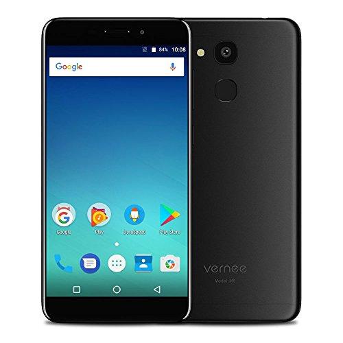 Vernee M5 Android 7.0 Handy 4G LTE Smartphone [ 4GB RAM 64GB ROM ] Dual SIM ohne Vertrag 5.2 Zoll HD Display MTK6750 Octa Core 13MP + 8MP Kamera 3300mAh 6.9mm Metallkörper Fingerabdrucksensor, Schwarz