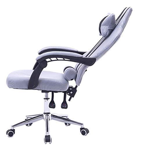 WWPP Computer Stuhl verstellbar Aufzug Liege E-Sport-Drehstuhl Fußstütze Mesh-Chef Stuhlsitz Bürostuhl,Grau,A