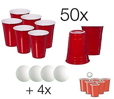 Beer Pong Set - 50x Rouge Tasse à boire Red Party Beer Pong Tasses Tasse en plastique Cup Party Tasse Beer Pong Beer Pong Tasse rouge Tasse Party Cup rouge 475ml Plastique Plastique + 4x Tennis de table Ball Balls Balls Blanc