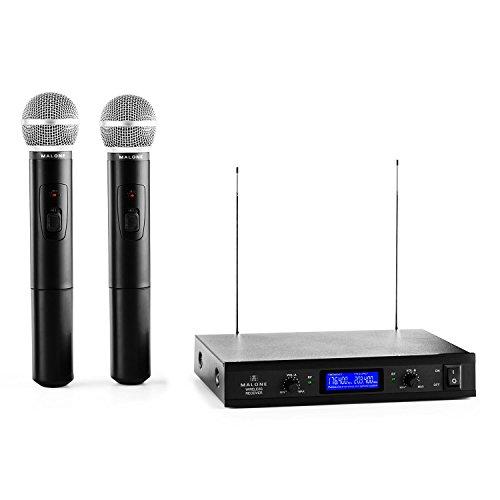 Malone VHF-400 Duo 1 • 2-Kanal VHF-Funkmikrofon Set • Funk-Mikrofon System • 2 x kabelloses Handmikrofon • 50 m Reichweite • lange Batterie-Betriebszeiten • 1 x Empfänger mit Status-LEDs • schwarz
