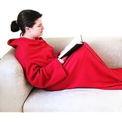 Manta con mangas y bolsillo para los pies – Material: Fleece suave de color rojo – Batamanta – Colcha – Regalos para Navidad – Extra largo: 150 x 205 cm