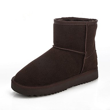 Stivali delle donne Inverno Mary Jane PU Cuoio casuale Wedge Heel Feather Brown