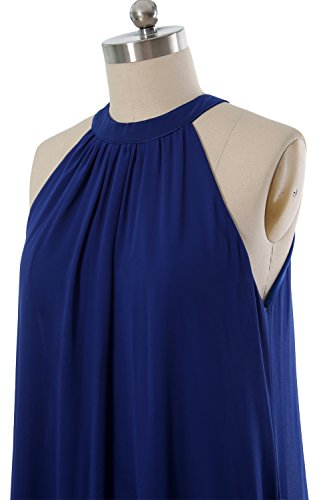 MACloth Women Halter Chiffon Cocktail Dress Short Wedding Party Formal Dress Ivoire