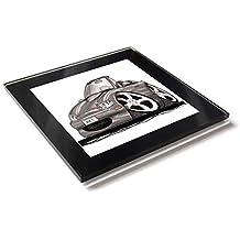 Koolart Mazda MX5 - Posavasos de cristal convertible con caja de regalo, plata, 10