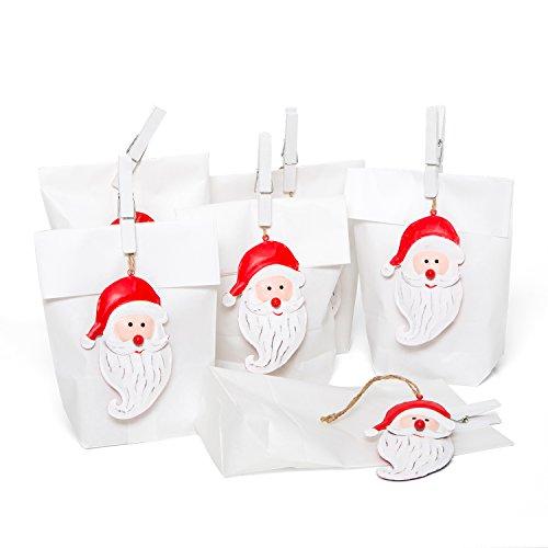 Lot de Emballage de Noël Lot de 6petites Sacs Papier (14x 22x 5,6cm) + 6Motifs Noël Rouge Blanc Pendentif de Noël Père Noël blanches en tôle cadeau pendentif (11cm) + 6Taille Pinces blanches