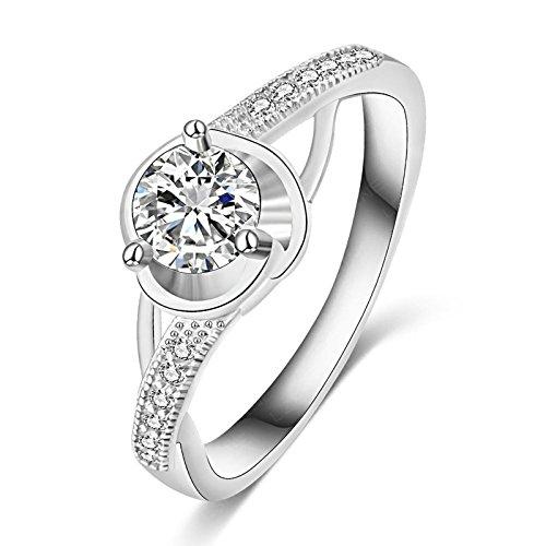 BeyDoDo Modeschmuck Platiniert Ring für Frauen Geometrie mit Weiß Zirkonia Trauring Silber Freundschaftsring Ringgröße 60 (19.1) (Jack Und Jill Kostüme Bilder)