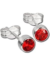 SilberDream Ohrringe Zirkonia rot 925 Sterling Silber Ohrstecker SDO503R