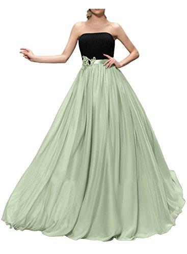 Gorgeous Bride Belibet Lang 2017 Trägerlos A-Linie Chiffon Abendkleider Lang Cocktailkleider Ballkleider Sage