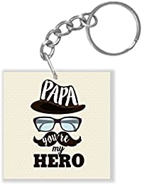 YaYa Cafe Fathers Day Gifts Hero Papa Dad Keychain Keyring For Father