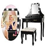 CCLIFE Coiffeuse Femme, Table de Maquillage, 1 grand Miroir Rectangulaire avec Led Lumière Dimmable, 4 Tiroirs et Une Boîte de Stockage Mobile, Tabouret rembourré. Choix de Couleur, Couleur:Noir017
