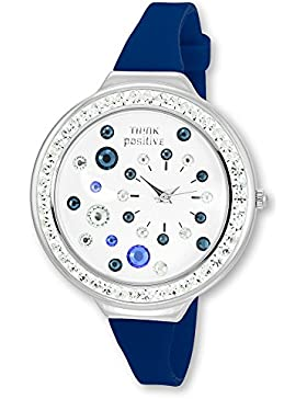 THINK positive Damen-Uhr Stardust Analog Fashion Silikon-Armband blau Quarz-Uhr UTP1011B