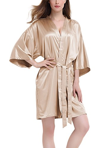 David Archy Damen Stretch-Bademantel aus Satin für Brautjungfern - Gold - X-Large -