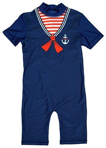 Jungen Little Matrose Nautisch Alles in eins Badeanzug Sonnenschutz Kostüm Größen von 1.5 to 5 Jahre - Blau, 3-4 Years
