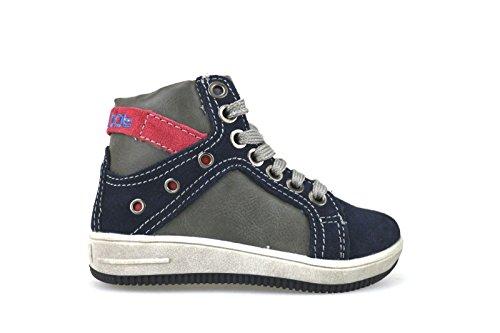 BLU BAT by DIDI BLU sneakers bambino blu / grigio / rosso pelle / camoscio AH125 (33 EU)