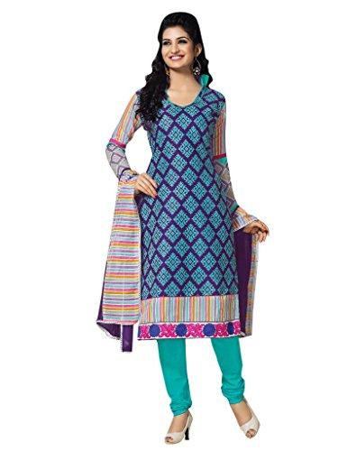 Vibes Women's Cotton Straight Fit Unstitched Salwar Kameez (V89-4_Blue)