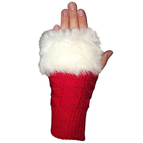 Sports Novelties Fuzzy Fan Fingerlose Handschuhe, rot/weiß