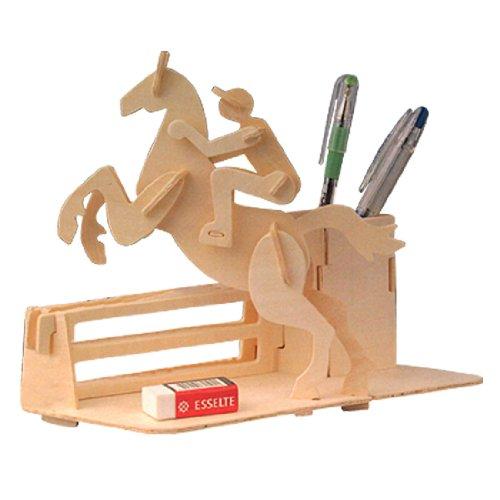 Sodial (r) equitazione di salto puzzle 3d diy in legno portapenne