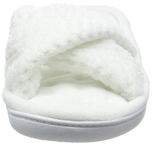 Isotoner - Isotoner Popcorn Cross Strap Slippers, Pantofole Donna White (White)