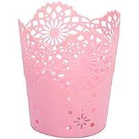 wdoit 1pcs personalizada lapicero hueco patrón DIY Craft cesta de flores pequeñas de escritorio Creative varrels de almacenamiento cesta de basura redondo 10* 7,4* 11,5cm) color opcional 10 * 7.4 * 11.5cm rosa
