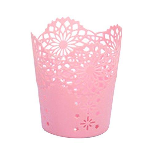 Drawihi support Brosse Pot à crayons Rose pâle Motif de fleurs en dentelle pour décoration de la maison et le bureau