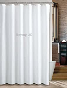 Bespoke size extra long plain white fabric shower curtain