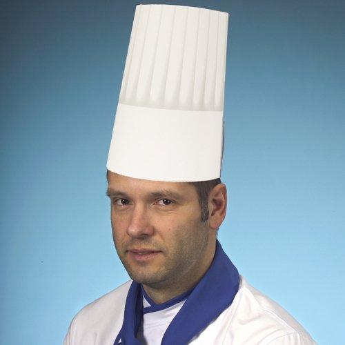 Papstar 12208 - Cappello da cucina in carta Borgogna, 23 cm, misura regolabile, 25 pezzi, colore: Bianco