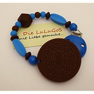 Spielkette Beißkette aus Silikon mit Keks in blau braun - Kinderwagenkette